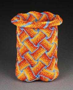 """Ply-split basket, """"Fire and Ice"""" by Barbara J. Walker."""