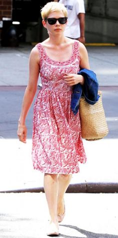 Look of the Day › July 18, 2011 WHAT SHE WORE Williams strolled the New York streets in an embroidered sundress accessorized with a straw tote and blush ballet flats.
