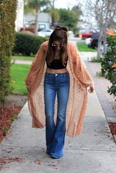 **** Stitch Fix April 2017! Love this boho inspired look - copper kimono, black crop and high waisted bells. Adore the 70's inspired look! Get fabulous styles just like this today from STITCH FIX! Simply click the picture and sign up today. Stitch Fix Spring Summer Fall 2017 #StitchFix #Sponsored