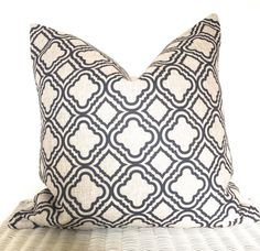 Geometric pillow cover geometric cushion moroccan cover in dark grey and natural 18x18