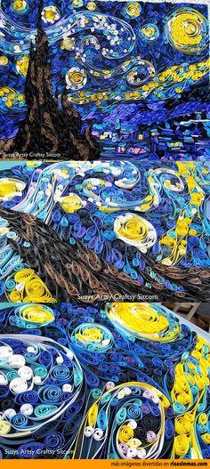 La noche estrellada de Vincent van Gogh realizado con tiras de papel enrollado.