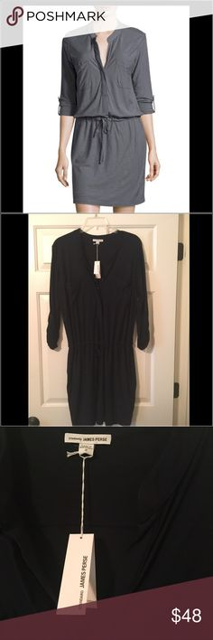 James Perse Utility Dress NWT Super soft, cozy & cute!  Navy blue. It's oversized, I would say could fit a size 4/6 also.  Drawstring waist for a flexible fit.  No trades. Offers are welcome.✌️❤️ James Perse Dresses