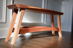 Unique style benchThe Bevel Bench by JimmyAtlasWoodworks on Etsy, $400.00