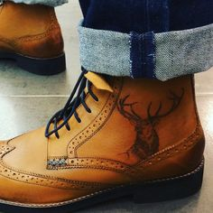 Monarch of the Glenn. Stag tattoo on tan brogue boots