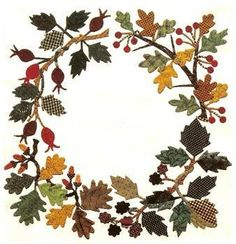 Quilt Applique Pattern Autumn Hedgerow Wreath Baltimore Jeana Kimball-dig out and do in wools Wool Applique Quilts, Fall Applique, Wool Applique Patterns, Wool Quilts, Wool Embroidery, Sewing Appliques, Quilt Patterns, Appliqué Quilts, Applique Ideas