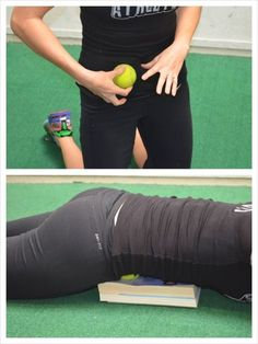 Relieve Your Low Back And Hip Pain To roll out your Psoas, lie face down on the ground with a ball on some books. Place the ball on the books in your abs above your hip to one side of your belly button. Relax over the ball and lie face down on the ground. Fitness Workouts, Psoas Stretch, Psoas Release, Tight Hip Flexors, Kt Tape Hip Flexor, Strengthen Hip Flexors, Hip Flexor Pain, Back Pain Exercises, Hip Stretches