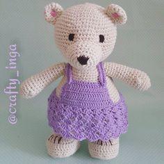 Here is another one of my teddies finished. Girly girl in her little dress  #crochet #crochetaddict #crochetersofinstagram #teddybear #crochetteddy #littlegirl #handmadetoy #childsafe #ecotoy #madeinireland #вязанныймишка #явяжукрючком #ручнаяработа #вяжутнетолькобабушки #knittingisthenewyoga #ilovemyhobby #crafty_inga #drops #dropsyarn #dropssafran #yarn by crafty_inga