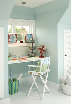 """Love this color. The color is called """"Seaside Retreat Summer Sorbet SR1011″ and I think it's by Valspar."""