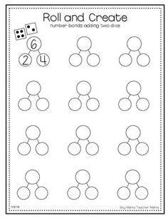 Teacher Mama: FREE Roll and Create Number Bonds Printable {After School Linky} - Boy Mama Teacher Mama Math Classroom, Kindergarten Math, Teaching Math, Maths, Preschool, Circus Classroom, Kindergarten Addition, Classroom Ideas, Math Numbers