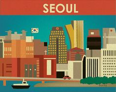 Seoul, South Korea Skyline Print - Asian Travel Wall Art - Destination Poster for Home, Office, and Children's rooms - style E8-O-SEO