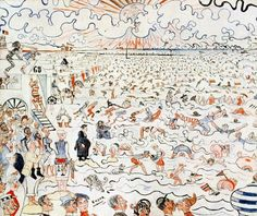 The Baths At Ostend Artwork By James Ensor Oil Painting & Art Prints On Canvas For Sale Illustrations, Illustration Art, James Ensor, Black Crayon, Kunsthistorisches Museum, Art Database, Modern Artists, Museum Of Fine Arts, Art Plastique