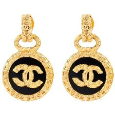 Chanel Vintage CC Drop Clip-on Earrings ($1,166) ❤ liked on Polyvore featuring jewelry, earrings, chanel, metallic, vintage clip on earrings, chanel jewellery, vintage jewellery and vintage earrings