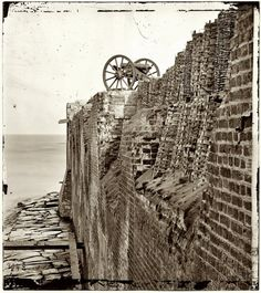 """1865. """"Charleston, South Carolina. Breach patched with gabions on the north wall of Fort Sumter."""""""