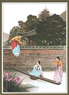 South Korea - Art - Seesawing from Korean Traditional Dress, Traditional Art, Korean Illustration, Illustration Art, Korean Art, Asian Art, Korean Painting, Korean Products, Korean Hanbok