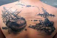 Ship Graveyard Back Body Tattoo