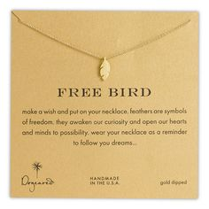 Dogeared 'Reminder - Free Bird' Feather Necklace ($52) ❤ liked on Polyvore