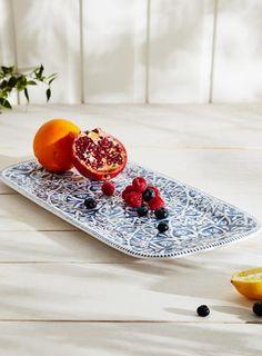 Patterned Valencia Rectangular Platter, Blue