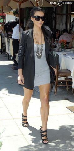 Kim Kardashian in a long black blazer & Fendi shoes