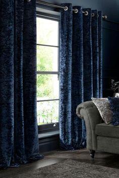Midnight Blue Crushed Velvet Eyelet Curtains                                                                                                                                                                                 More