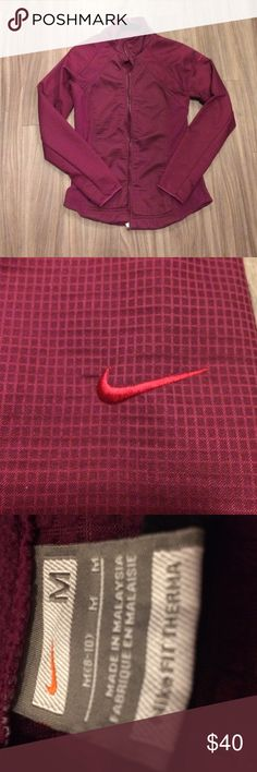 Purple Nike jacket Nike jacket. Size medium but runs a little small. Very cute pattern. Lots of compliments on this! Has thumb holes. Minimal wear and in great condition. Nike Jackets & Coats