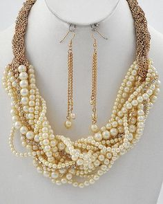 Amazon.com: Pearl Necklace & Earring Set: Jewelry