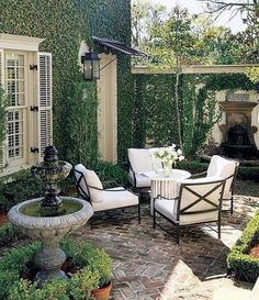 A terrace vs patio and building a terraced patio. Pretty up your patio and dress. A terrace vs patio and building a terraced patio. Pretty up your patio and dress up your decking wi Brick Courtyard, French Courtyard, Small Courtyard Gardens, Brick Garden, Courtyard Design, Small Courtyards, Garden Design, Patio Courtyard Ideas, French Patio