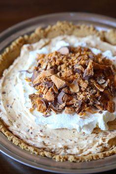 This creamy, cool Butterfinger Pie is a simple dessert to make that everyone will love!