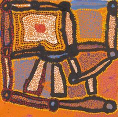 Myrtle Pennington (born c. Kanpalla, synthetic polymer paint on canvas, x cm. National Gallery of Victoria, Melbourne. Art Production, Sand Painting, Painted Leaves, Indigenous Art, Aboriginal Art, Myrtle, Wood Carving, Maya, Melbourne
