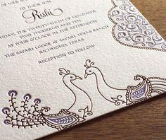 copper foil and purple ink peacock invitation