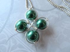 Four Leaf Clover Necklace - wire wrapped featuring 4 green vintage pearls #otb
