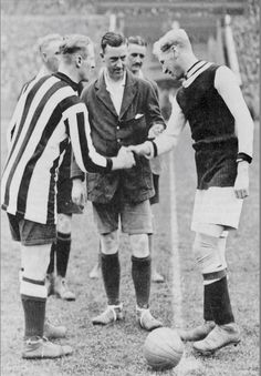 Newcastle 2 Aston Villa 0 in April 1924 at Wembley. The captains, Frank Hudspeth and Billy Walker, shake hands before the FA Cup Final.