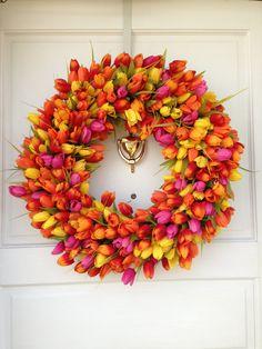 Orange, Yellow, and Pink Spring Tulip Wreath, Seasonal Decor, Spring Door Decoration, Easter Wreath