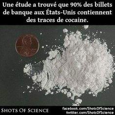 En savoir plus (en anglais) : http://phys.org/news/2009-08-percent-paper-money-cocaine.html #billets #cocaine Une étude a trouvé que 90% des billets de banque aux États-Unis contiennent des traces de cocaine.