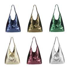 Ital Donna Borsa in pelle Metallizzato XXL Tracolla Shopper Hobo-Bag Hobo Handbags, Leather Handbags, Leather Bag, Hobo Bags, Wallets For Women Leather, Courses, Metallic Leather, Bucket Bag, Shoulder Bag