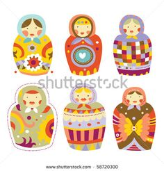 Collection of colorful Russian dolls (Matryoshka) with different patterns and colors.
