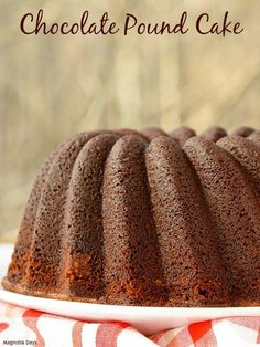 Chocolate Pound Cake is an old-fashioned one and the recipe has been in the family for generations. Bake it in a bundt or tube pan then simply slice and enjoy!