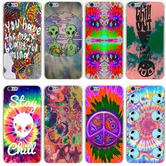 aeaf570dfeae Details about Trippy Tie Dye Peace sign Alien hard case cover for iPhone 6s  7 8 X Plus XS Max