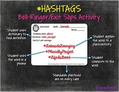 Teaching vocabulary with hashtags - Reading & Vocabulary Bell Ringer Activities Vocabulary Strategies, Teaching Vocabulary, Vocabulary Activities, Teaching Activities, Teaching Strategies, Teaching Writing, Teaching Tips, Vocabulary Exercises, Academic Vocabulary