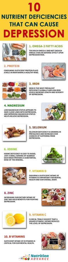 10 Nutrient Deficiencies That Can Cause Depression | Depression is a growing problem as diet quality falls across the world. Here are 10 nutrients which are important for mental health: omega-3, iron, protein, magnesium, selenium, iodine, vitamin D, zinc, vitamin C, and B vitamins. Read the article for more information and how to ensure sufficient intake of these vitamins and minerals through food. | Full article at http://nutritionadvance.com/crippling-depression-and-diet/ | Via…
