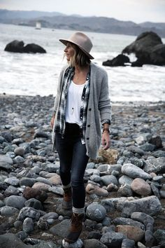 grey sweater with plaid shirt, old navy jeans, and sorel boots with socks, women's fashion, casual outfit for outdoors hiking