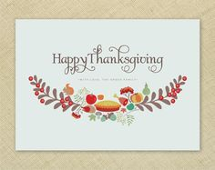 HAPPY THANKSGIVING CARDS Beautiful illustrated by TheLovelyLetters, $17.00