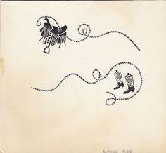 "Cowboy elements labeled ""actual size"" Done at Ball Band, a division of Uniroyal 1952-57 Division, Abstract Art, Band, Tattoos, Sash, Tatuajes, Tattoo, Bands, Tattos"