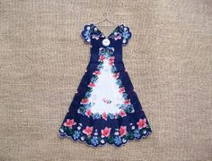 Navy Pink and White Floral Hanky Dress