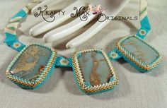 My Lady Isla - Teal and Ivory Beadwoven Necklace A Krafty Max Design