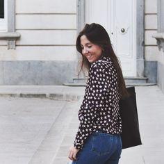 Pyjama shirt outfit Pajama Shirt, Shirt Outfit, Polka Dot Top, Pajamas, Blog, Shirts, Outfits, Tops, Women