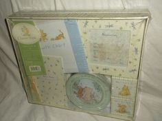 KEEPSAKE BOX WITH GROWTH CHART, BIRTH ANNOUNCEMENT FRAME, FIRST CURL AND FIRST TOOTH BOXES, PLASTER HANDPRINT KIT AND PHOTO ALBUM. CLASSIC POOH. MEMORY GIFT SET. Be sure to add me to your favorites list ! | eBay!
