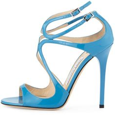 Jimmy Choo Lang Patent Strappy 100mm Sandal ($845) ❤ liked on Polyvore featuring shoes, sandals, high heel shoes, open toe sandals, strappy sandals, ankle tie sandals and blue high heel sandals