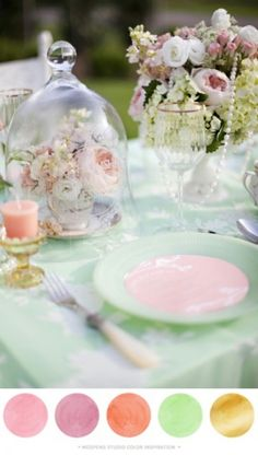 Pastels pink and green