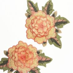 2 pcs Embroidered Peach Rose Flower Patch by BeeComeCrafty on Etsy
