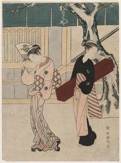 Geisha and Assistant in Front of the Matsumotoya  芸者と仲居 (松本屋店先) Japanese Edo period about 1767–68 (Meiwa 4–5) Artist Suzuki Harunobu (Japanese, 1725–1770)